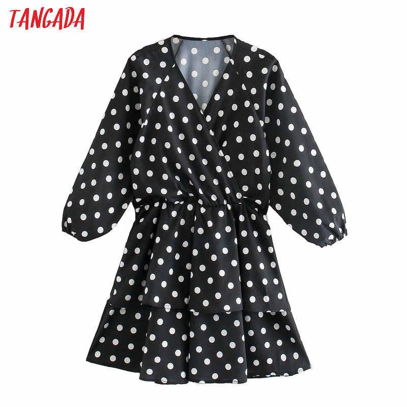 Tangada 여성 우아한 케이크 드레스 점 인쇄 v 목 긴 소매 2020 패션 여성 스트리트 드레스 vestido 5Z27
