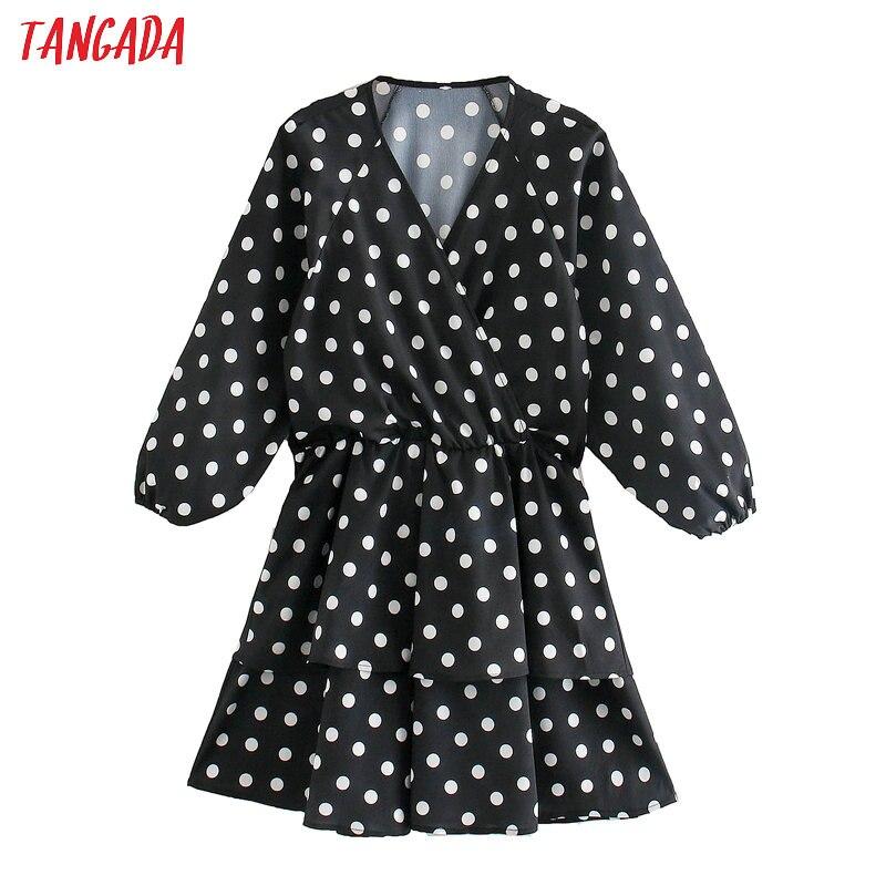 Tangada Women Elegant Cake Dress Dots Print V Neck Long Sleeve 2020 Fashion Female High Street Dresses Vestido 5Z27