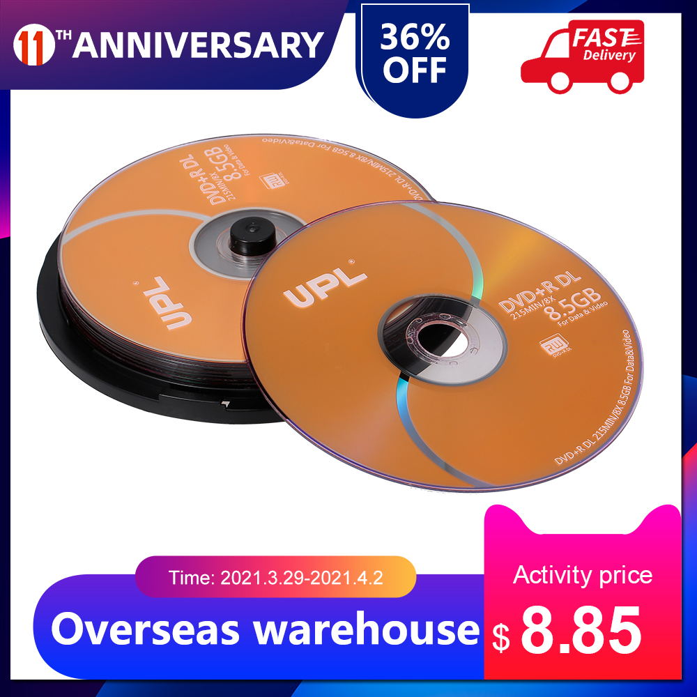 Wholesale 10PCS DVD+R DL 8.5GB 215MIN 8X Disc DVD Disk For Data & Video Supports up to 8X DVD + R DL recording speeds 10pcs/lot 1