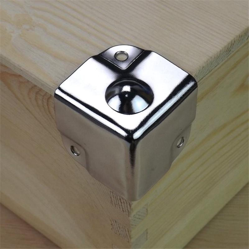 4x NICKEL 28mm CASE CORNER METAL PROTECTOR Strengthen Box Chest Trunk Flightcase