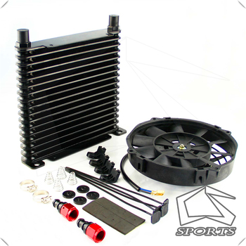 """8-AN 32mm Aluminum 17Row Engine/Transmission Racing Oil Cooler+7"""" Electric Fan w/ Fittings Black"""