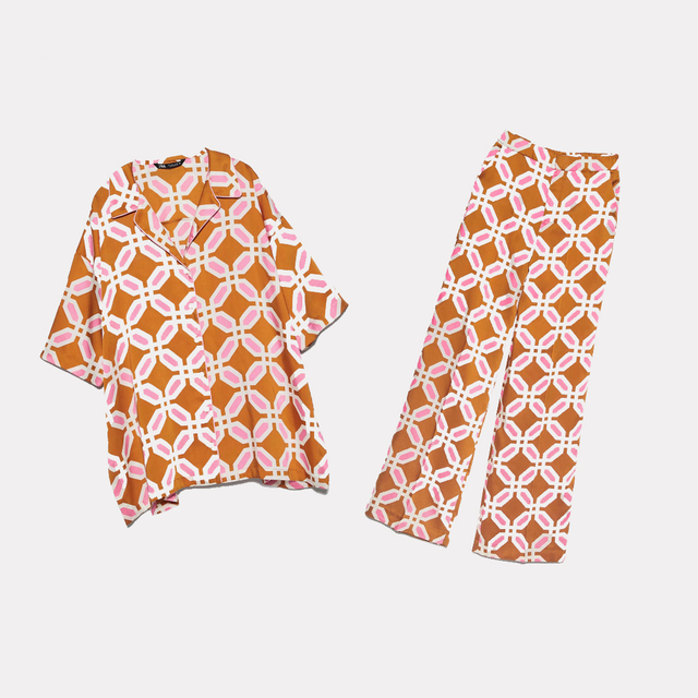 2020 nuove Donne di Estate 2 Pezzi Set Arancione Stampa Manica Corta Camicia Camicetta Lunga del Vestito di Mutanda Femminile Casual VestitiCompleti da donna