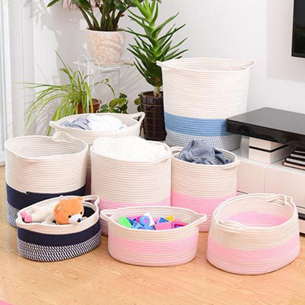 Hot Large Cotton Rope Home Folding Laundry Basket Clothes Underwear Sundries Cleaning Toys Holder Organizer Barrel