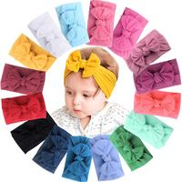 16 Colors Baby Nylon Knotted Headbands Girls Big 4.5 inches Hair Bows Head Wraps Infants Toddlers Hairbands