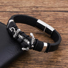 Fashion Magnet Charm Black Leather Anchor Bracelet For Men Stainless Steel Beaded Punk Rock Wholesale Jewelry Accessories