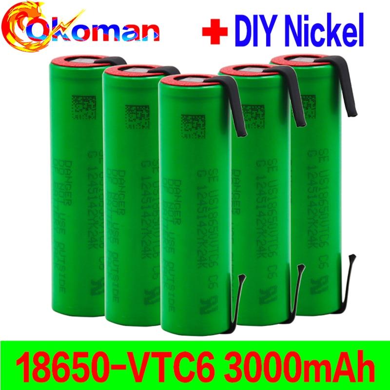 Vtc6 3.7v 3000mah 18650 li ion bateria 30a descarga para 18650 bateria recarregável us18650vtc6 ferramentas baterias + folhas de níquel|Baterias recarregáveis|   -
