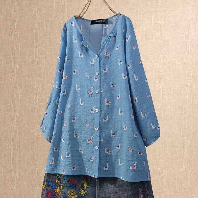 ZANZEA Women Spring Cartoon Printed Blouse Casual Long SLeeve Shirt Buttons Down Tops Plus Size Blusas Chemise Femininas Tunic