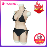 Roanyer silicone breast forms C cup boobs short version whole body suits for drag queen crossdresser shemale