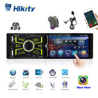 Hikity 4.1 inch 1 Din Car Radio Auto Audio Car Stereo RDS FM Bluetooth USB Support Steering Wheel Remote Control MP5 player