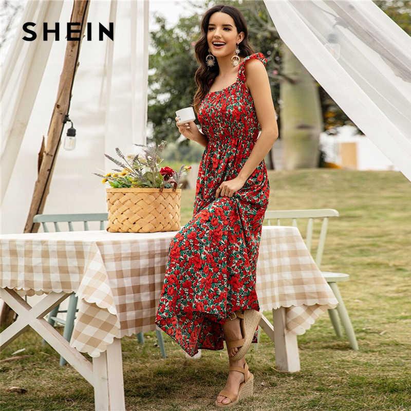 SHEIN renkli çiçek baskı büzgülü evaze elbise kadın yaz kolsuz Maxi elbise Fit ve Flare Boho yüksek bel elbiseler