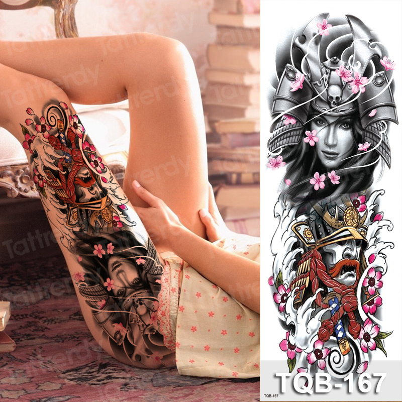 Sexy Temporary Tattoos Large Women Girls Body Tattoo Leg Thigh Stickers Fish Dragon Waterproof Fake Tatoo Arm Sleeves Big Size