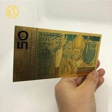 50 pln zloty polónia ouro cor cédula papa joão paulo ii para coleção 999 ouro para coleção lembrança
