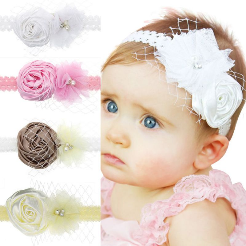 Infant Girls Rose Flower Lace Flower Head Lead Headbands Toddler Lace Headwear Baby Accessories White,Pink,Yellow,Brown