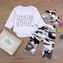 Newborn Toddler Baby Boys clothes ropa niña одежда для новорожденных Letter Printed Romper Tops+Camo Pants+Hat Clothes Outfits(China)