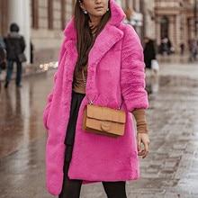winter long coat women pink Winter Teddy Bear Faux Fur Coat Jackets Ladies Warm Jumper Outwear2019#3