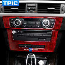 TPIC karbon Fiber hava klima anahtarı paneli kapak Sticker Trim M performans araba Sticker çıkartmaları BMW e90 e92 e93 3 serisi