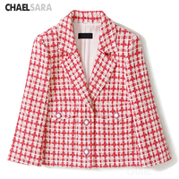 2020 New Vintage Pink Plaid Wool Tweed Blazers Jackets Women Chic Button Short Suit Coat