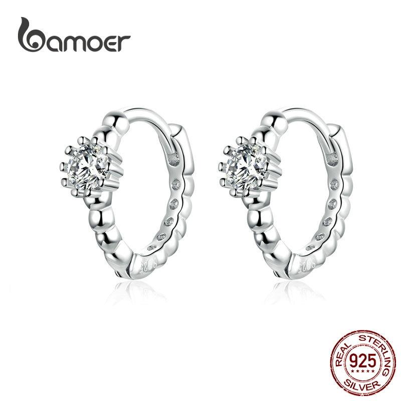 Bamoer Silver Wedding Ear Hoops For Women Clear Cubic Zirconia Tiny Circle Earrings Korean Crystal Fashion Jewelry BSE194