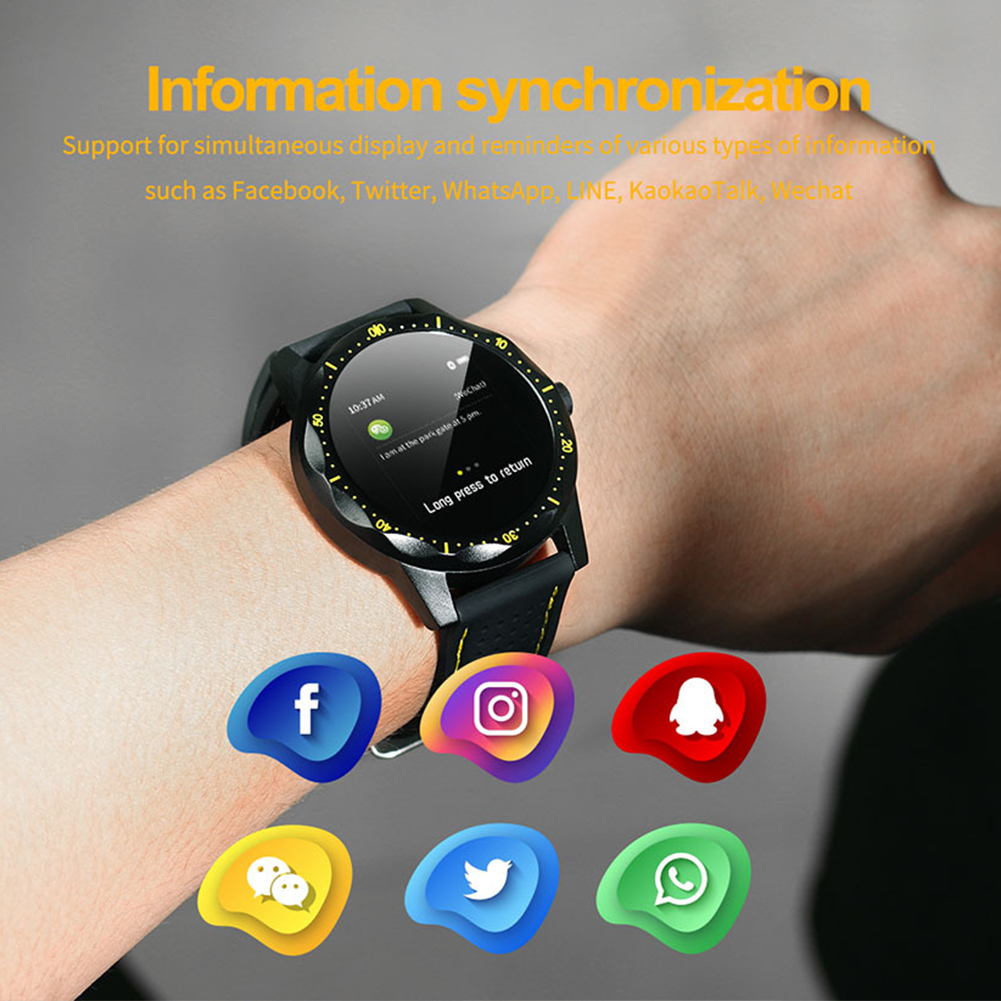 Smart Watch Silicone Fitness Tracker For IOS Android IP68 Waterproof Digital Display Sports Bracelet Round Dial Long Standby