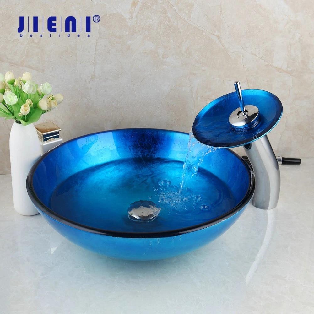 jieni blue bathroom vessel sink hand painting vanity basin waterfall faucet tap combo glass vessel sink faucet pop up drain