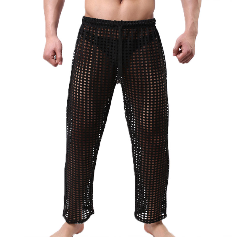 Men's Sleep Bottoms Casual Sheer Trousers Mesh Fishnet Transparent Sleepwear Breathable Sports Pants Pantalon Pajama Lounge XL