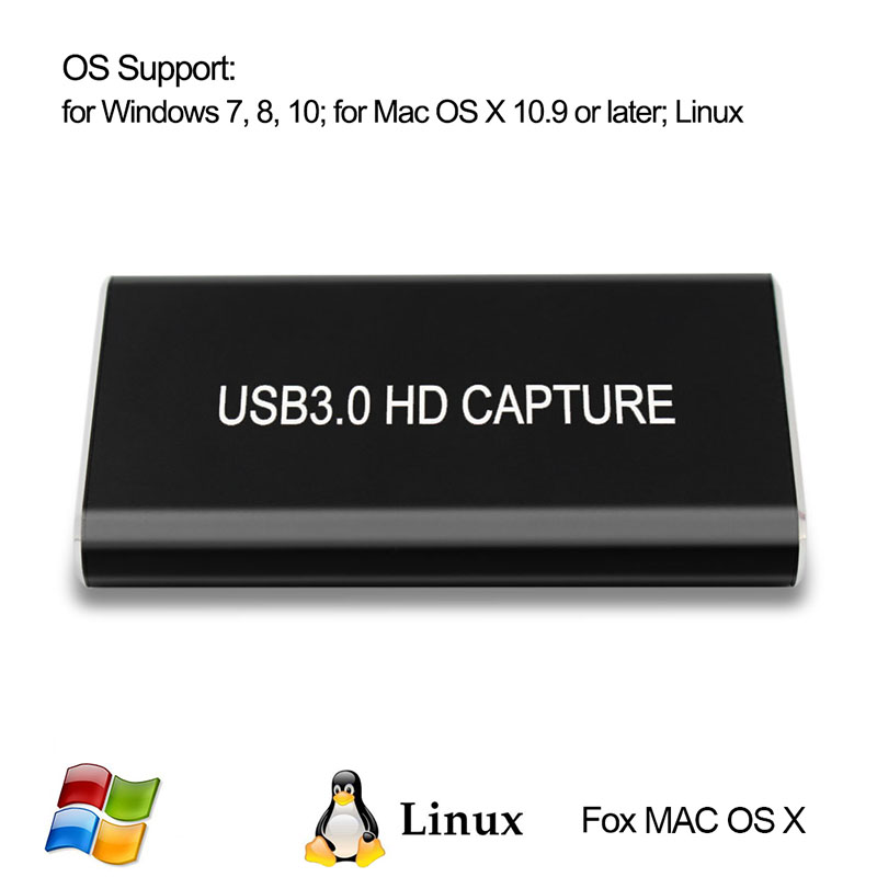HDMI Video Capture Card Grabber HD To USB 3.0 USB C 1080P 60fps Game Live Stream With HDMI Loop Out For Windows 10 Linux Os X
