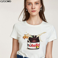 Showtly Girl Soaking In Nutella Print Women's Fashion T-Shirt Harajuku Short Sleeve Vintage Lovely Cartoon Female Casual Tee