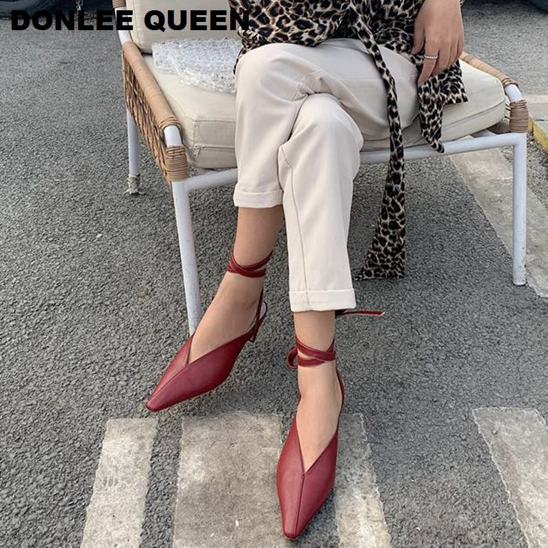 Fashion Brand Sandals Mules Spring Low Heel Pointed Toe Shoes Women Ankle Strap Sandal Can Removable Strap Slip On Slides  Shoes