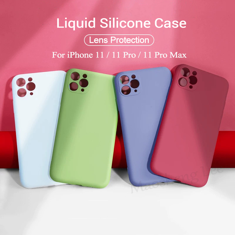 Original Liquid Silicone Case For IPhone 11 Pro Max Soft Silicone Shockproof Case For IPhone 11 Back Cover