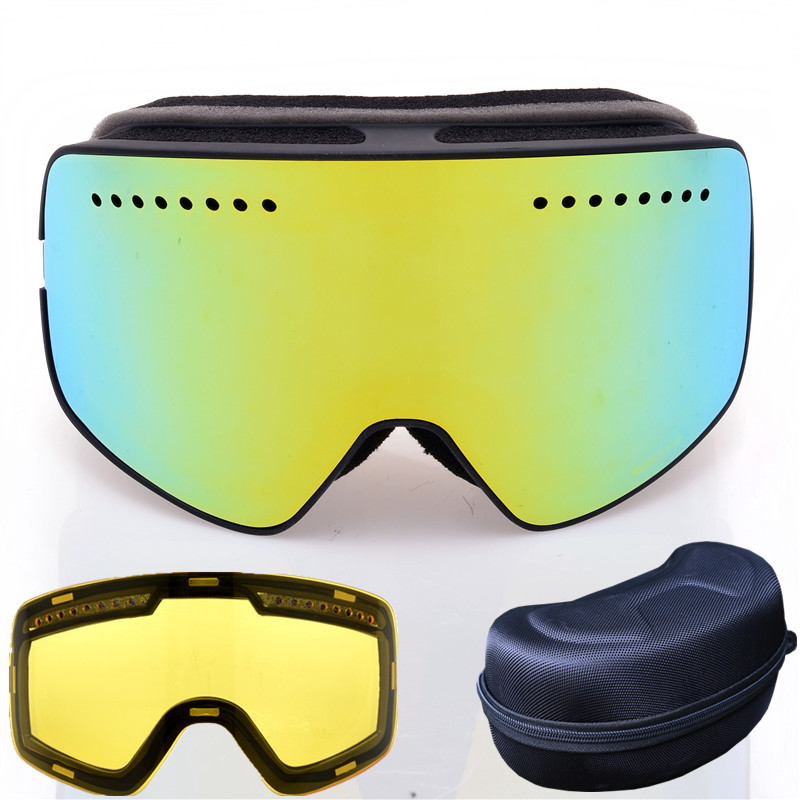 Quick-change Lens Ski Goggles With Case Brand Professional Double Anti-fog Big Lens Magnet Glasses Mask Skiing Snowboard Googles
