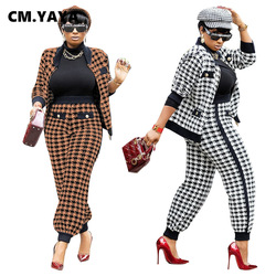 CM.YAYA Houndstooth Patchwork Two 2 Piece Set for Women Vintage Fitness Outfits Jacket + Pants Set Streetwear Tracksuit