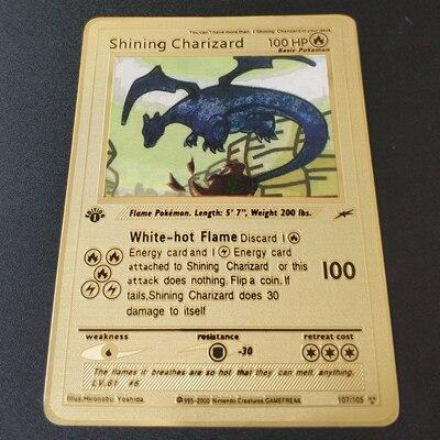 Покемон Игры Аниме битва карта золотая металлическая карточка Чаризард Пикачу коллекция карточная фигурка Модель Детская игрушка подарок - Цвет: Shining Charizard