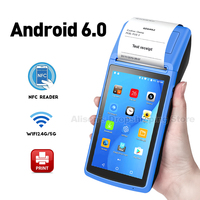 GZPDA08 4G Android 6.0 Handheld POS PDA Terminal With Bluetooth Thermal Receipt Bill Printer 58mm WIfi Mobile POS Devices