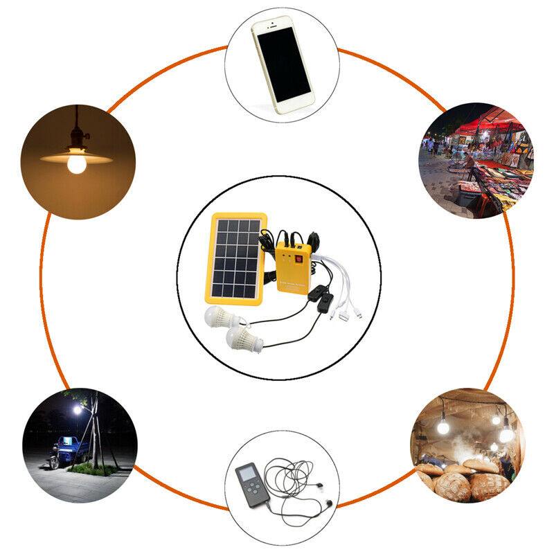 LED Light USB Charger Solar Panel Power Storage Generator Home System Kit Rechargeable Indoor/Outdoor Lighting 2 LED Bulbs