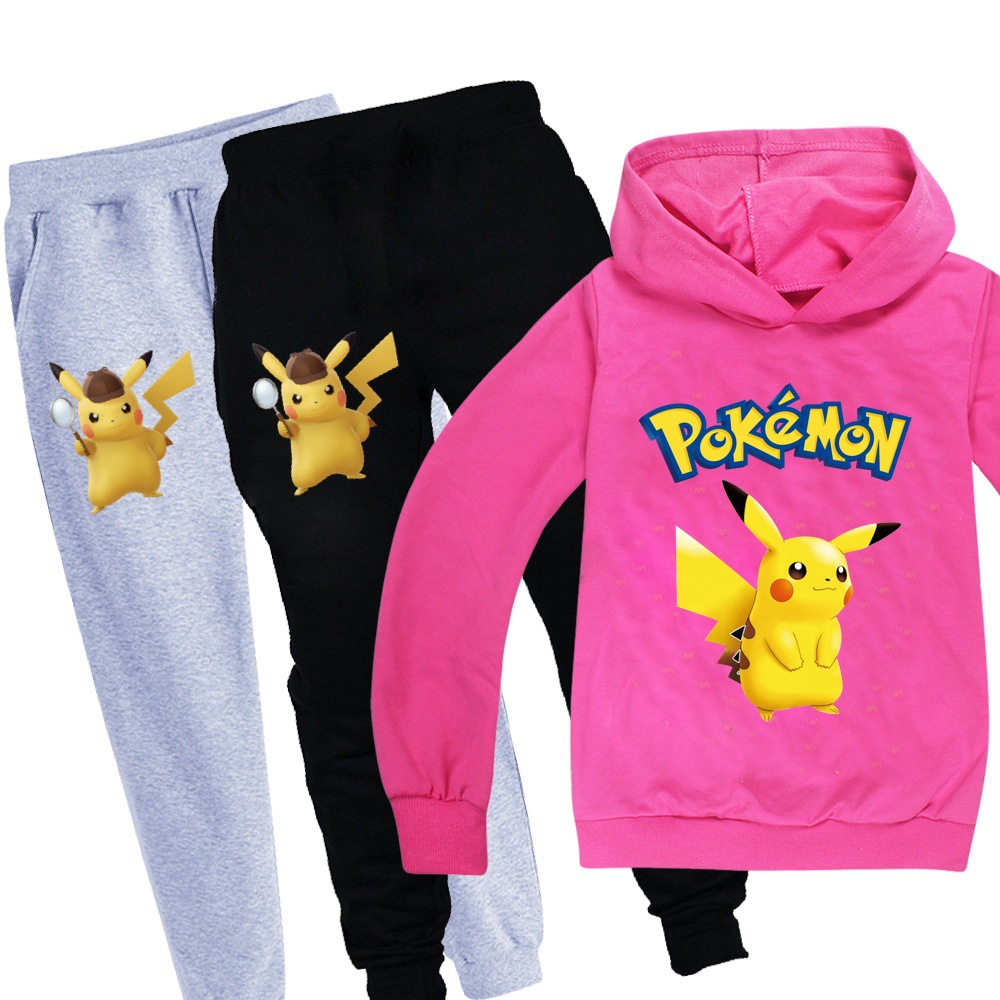 Fashion Pokemon Kids Clothing Set Children Clothes Sets Cartoon Baby Girls Christmas Outfits Teenagers Boys Pikachu Sports Suit