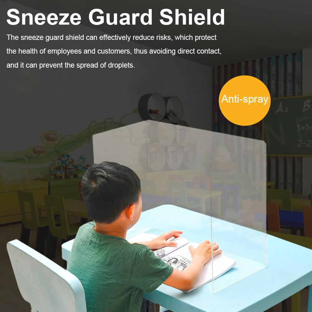 Acrylic Sneeze Guard Shield Multifunction Protection Anti-spray Safety Counter Transparent Board Health Manage Restaurant School