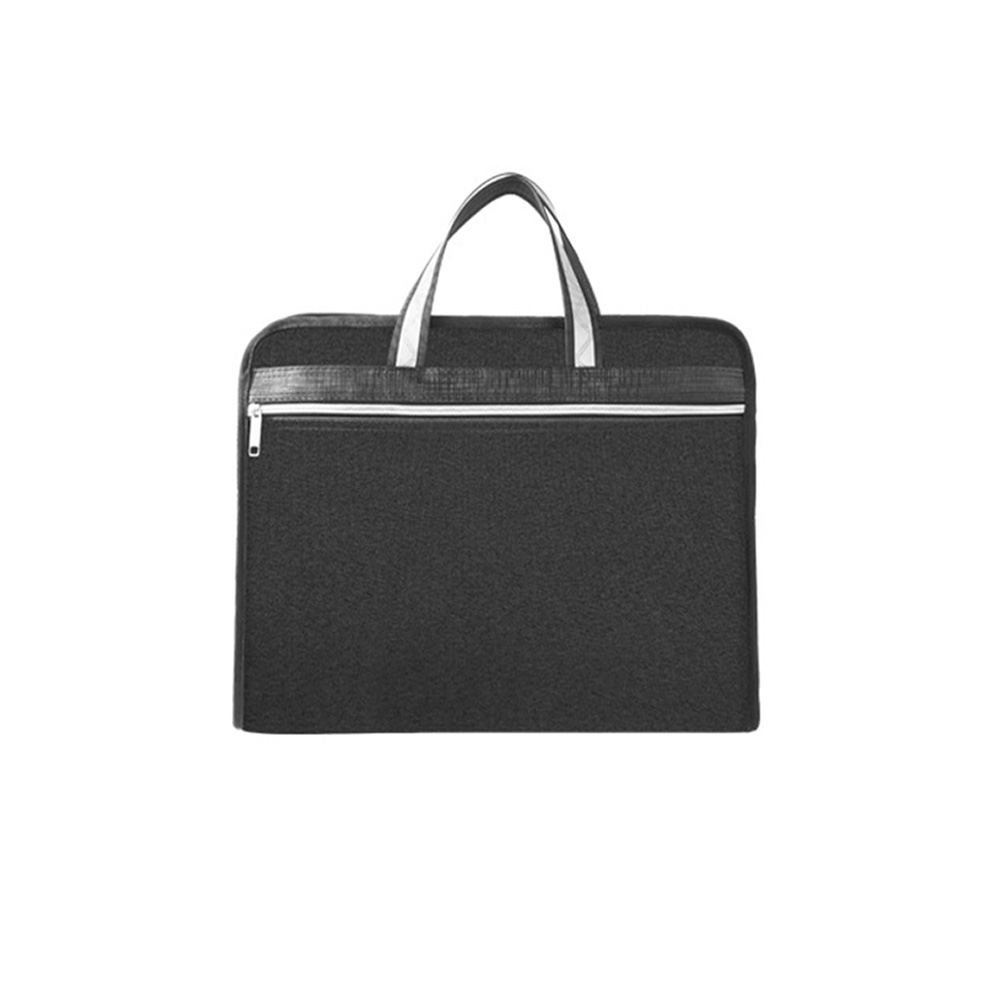 A4 Double Deck File Bag Anti Lost Briefcase Office Conference Hand Held Large Capacity Work Zipper Oxford Cloth Business