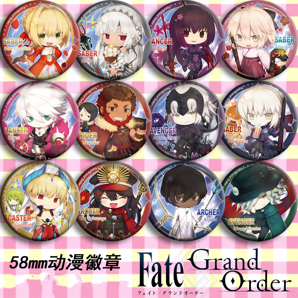 Japan Anime Fate/Grand Order FGO Cosplay Badge 58mm Cartoon Brooch Pins Collection Backpacks Badges For Bags Button Gifts