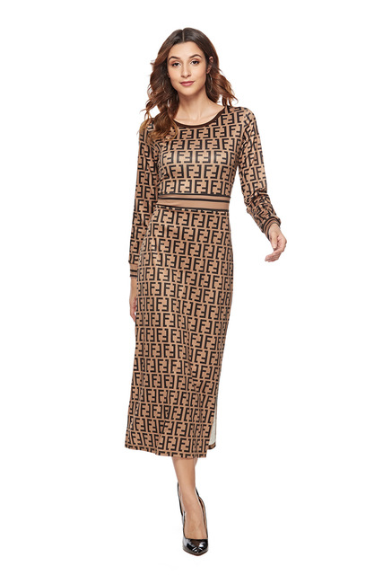 SKYYUE new pattern women print dress sleeve female casual straight dresses chic Mid-Calf length vestidos party dress  plus size 3
