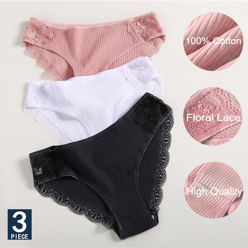 3PCS/Set Cotton Underwear Women's Panties Comfort Underpants Floral Lace Briefs For Woman Sexy Low-Rise Pantys Intimates M L XL(China)