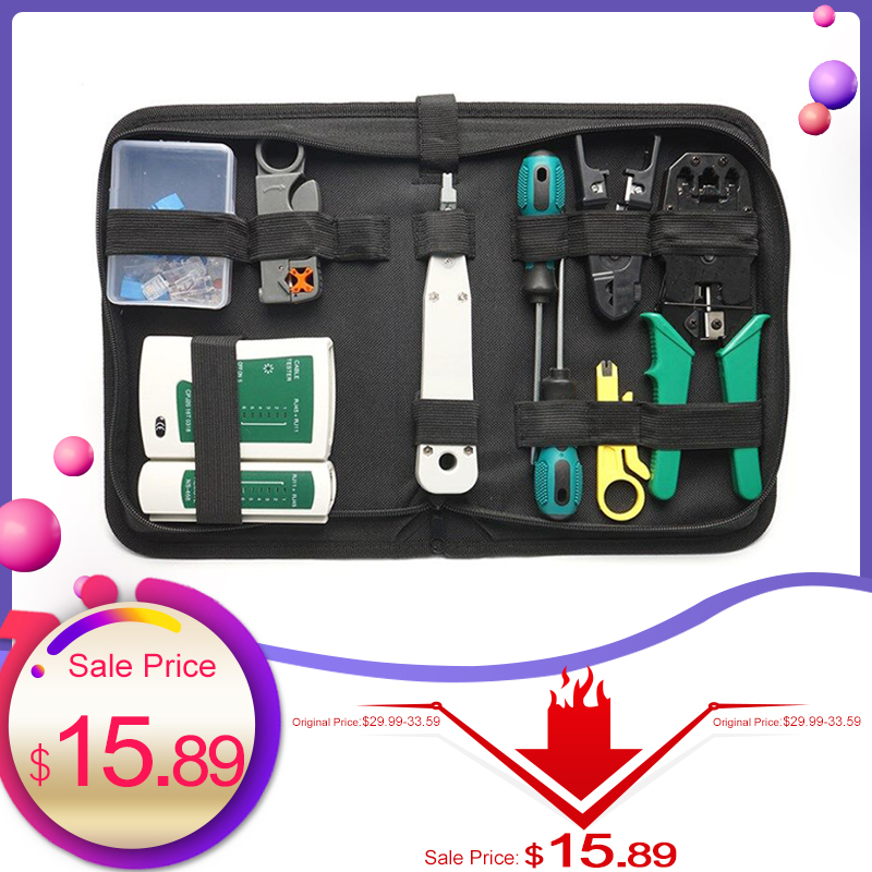 14Pcs/Kit Network Repair Tool Kit RJ45 RJ11 RJ12 Cat5 Network LAN Cable Tester RJ45 Crimper Crimping Pliers Tool Drop Shipping