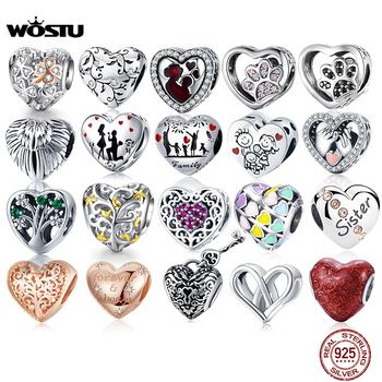 WOSTU 100 autentyczne 925 srebro Charms w kształcie serca mama koraliki Fit oryginalna bransoletka wisiorek DIY biżuteria prezent z wdziękiem tanie i dobre opinie CN (pochodzenie) ----- Cyrkon 925 Sterling Silver Heart Charm GDTC Kształt serca 925 Sterling Silver Heart Beads heart pendant necklace red heart
