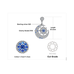 Image 5 - JPalace Moon Star Created Spinel Pendant Necklace 925 Sterling Silver Gemstones Choker Statement Necklace Women Without Chain