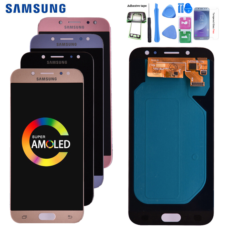 Original Super Amoled For <font><b>Samsung</b></font> <font><b>Galaxy</b></font> <font><b>J7</b></font> Pro <font><b>2017</b></font> J730 J730F LCD <font><b>Display</b></font> and Touch Screen Digitizer Assembly free shipping image