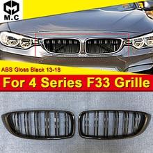 цены на 1 Pair F33 2 door Convertible Front 2-Slat Grills ABS Gloss Black For 4-series 420i 428i 430i 440iXD Front Kidney Grille 2013-18 в интернет-магазинах