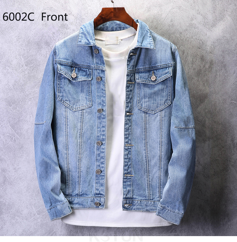KSTUN Mens Jean Jacket Coats Light Blue Streetwear Loose Fit Ripped Denim Jacket for Man Teens Single-breasted Large Size 4XL 14