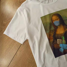 Spoof Mona Lisa Mask T Shirt Women Personality Fashion Tshirt Summer Harajuku Aesthetics Short Sleeve White Tops Female T-shirt