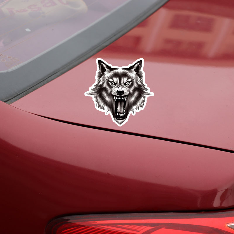 13.5CM*13.2CM A Ferocious Wolf Quality PVC Car Sticker Decal 12-300523
