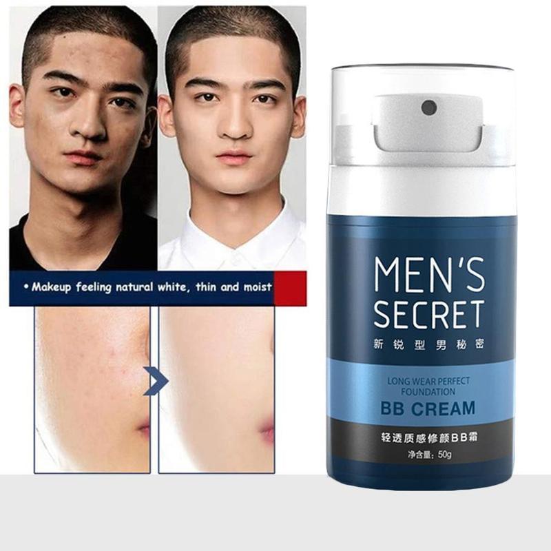 Men BB Cream Natural Whitening Moisturizing Oil-control BB Cream Face Cream Face Foundation Concealer Makeup Bare For Men Face