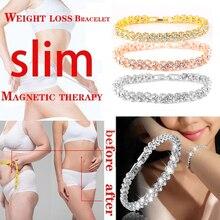 Вес потеря кристалл браслет вес потеря магнит золото цепочка браслет женский похудение детокс украшения браслет подарок для женщин